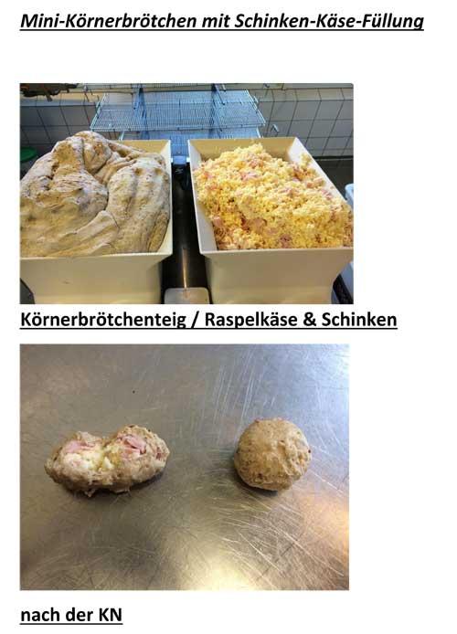 Mini Körnerbrötchen mit Schinken-Käse-Füllung